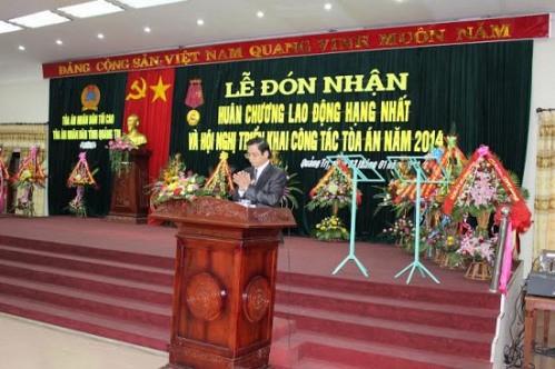 TAND tỉnh Quảng Trị đón nhận Huân chương Lao động hạng Nhất và tổ chức triển khai công tác năm 2014