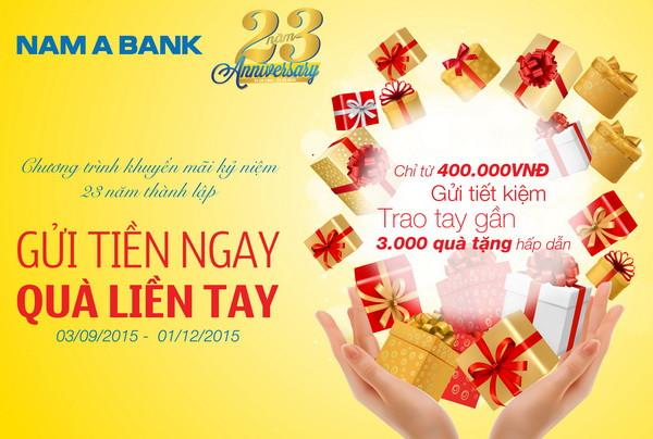 Gửi tiền tại Nam A Bank nhận nhẫn vàng