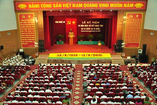 Đồng chí Lê Hồng Anh dự lễ kỷ niệm 85 năm ngày Xô Viết Nghệ Tĩnh
