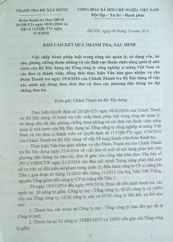 Cần làm rõ một số vấn đề tại Tổng Công ty Công nghiệp xi măng Việt Nam