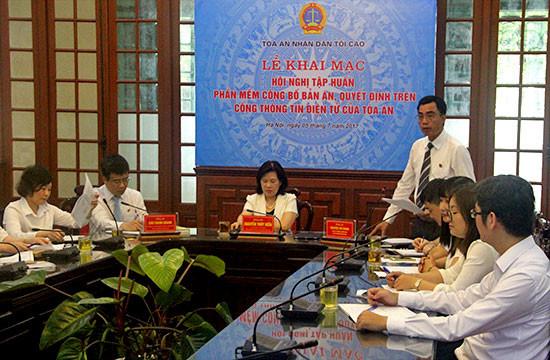 Hội nghị tập huấn phần mềm công bố bản án