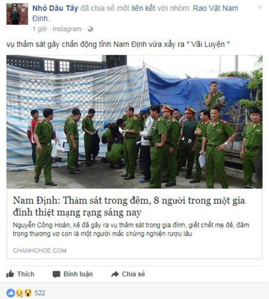 Điều tra người tung tin đồn 'Thảm sát tại Nam Định, 8 người thiệt mạng'