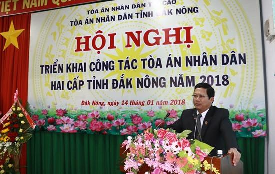 Hội nghị triển khai công tác TAND hai cấp tỉnh Đắk Nông năm 2018