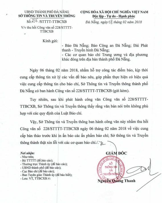 Sở TT&TT Đà Nẵng thu hồi công văn ban hành trái Luật báo chí