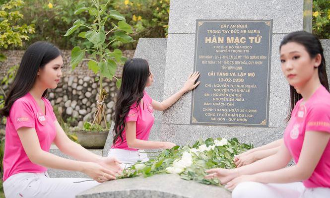 Thí sinh Hoa hậu Việt Nam mang hoa trắng tới viếng mộ Hàn Mặc Tử - ảnh 13