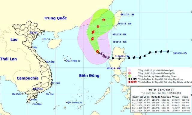 Bão số 7 suy yếu dần thành áp thấp nhiệt đới