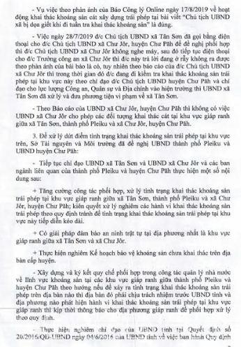 Sở TN&MT tỉnh Gia Lai báo cáo vụ việc Chủ tịch xã bị dọa giết khi đi tuần tra khoáng sản