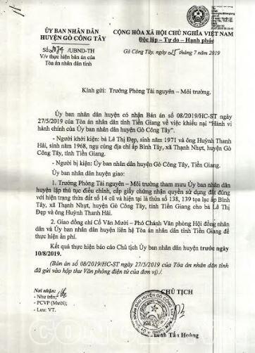 """Tiền Giang: UBND huyện Gò Công Tây không hề """"né"""" thi hành án"""