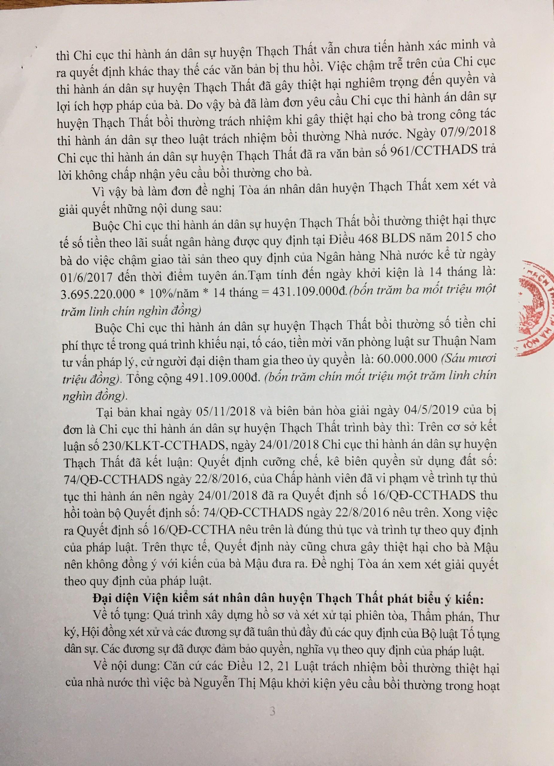 Chi cục THADS huyện Thạch Thất phải bồi thường cho người khởi kiện
