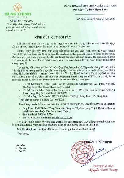 Tập đoàn Hưng Thịnh chung tay hỗ trợ đối tác trong đại dịch Covid-19