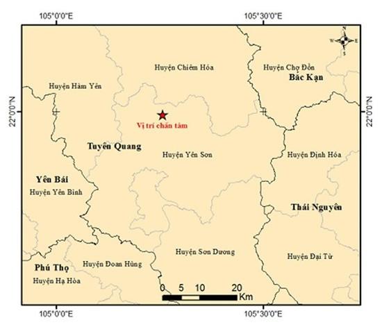 Xảy ra động đất độ lớn 3,3 tại Tuyên Quang