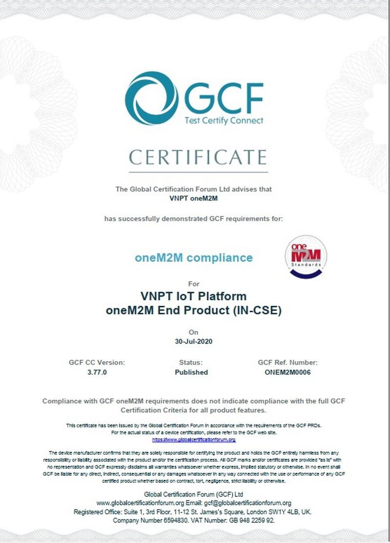 VNPT đạt chứng chỉ quốc tế oneM2M