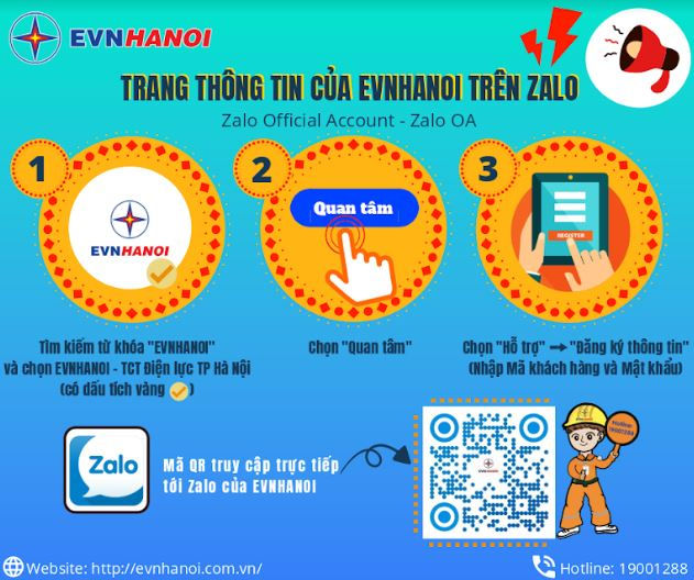 EVNHANOI triển khai tiện ích chăm sóc khách hàng qua ứng dụng Zalo