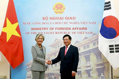 Phó Thủ tướng Phạm Bình Minh hội đàm với Bộ trưởng Ngoại giao Hàn Quốc