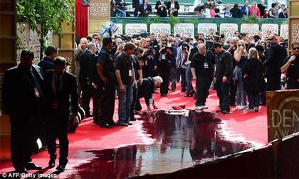 Quả cầu vàng 2014: Vỡ đường ống, nước thải ngập lênh láng trên thảm đỏ