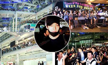 """""""Choáng"""" với lượng fans """"khủng"""" đứng đợi Kim Woo Bin ở Thái Lan"""
