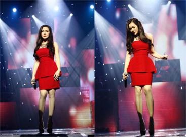 Bài hát Việt 2014: Ngọc Anh khoe gợi cảm với đầm đỏ