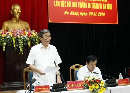Đoàn công tác Tiểu ban Văn kiện Đại hội XII của Đảng làm việc với Thành ủy Đà Nẵng