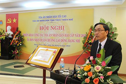 TAND hai cấp tỉnh TT-Huế: Triển khai công tác năm 2015 và đón nhận Huân chương Lao động hạng Nhì