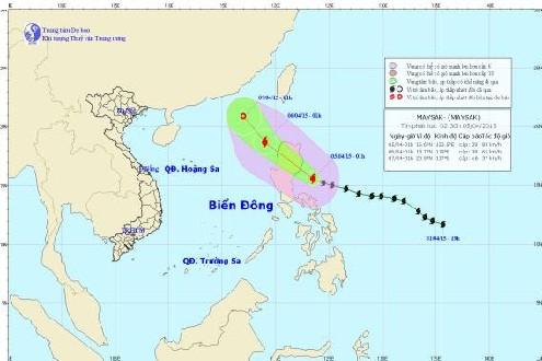 Bão Maysak có khả năng đi vào Biển Đông và suy yếu thành vùng áp thấp