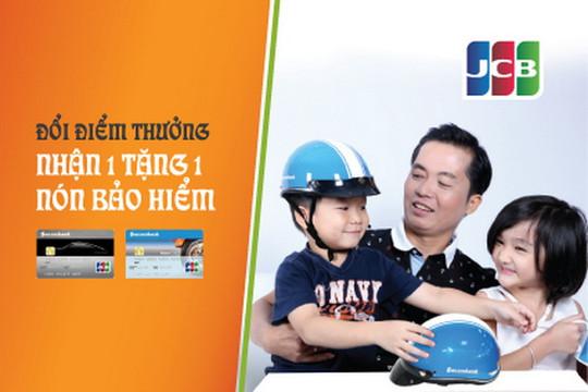 Xài thẻ Sacombank JCB được tặng nón bảo hiểm