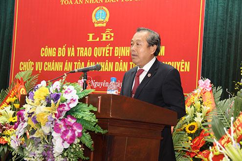 Công bố quyết định bổ nhiệm Chánh án TAND tỉnh Thái Nguyên