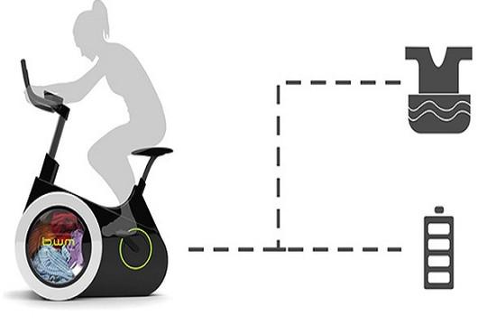 Độc đáo với thiết bị giúp bạn vừa đạp xe vừa giặt đồ