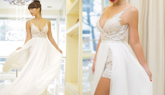 Mê mẩn váy cưới khoét sâu của siêu mẫu Hà Anh