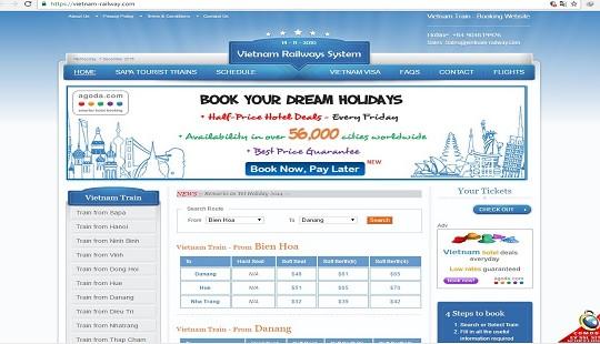 Xuất hiện website bán vé tàu Tết giả trên mạng