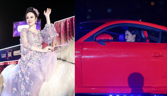 Angela Phương Trinh cưỡi ngựa, Đông Nhi lái siêu xe lên sân khấu
