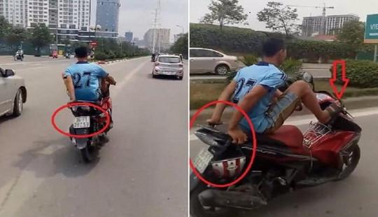 Truy tìm nam thanh niên đi xe máy bằng chân, lấn làn buýt nhanh