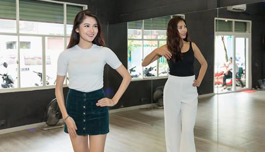 Thuỳ Dung chăm chỉ luyện catwalk cùng Nguyễn Thị Loan để chinh chiến Miss International
