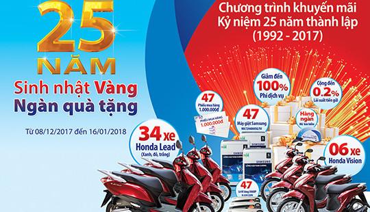 Ngân hàng Bản Việt khuyến mãi lớn mừng sinh nhật lần thứ 25