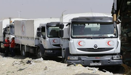 Đoàn xe viện trợ của Liên Hợp Quốc vội vã rời Đông Ghouta