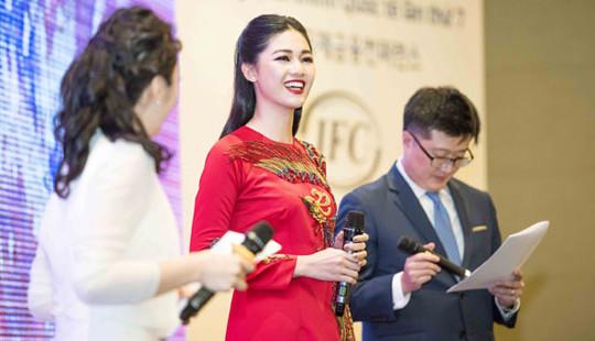 Á hậu Thanh Tú trở thành Đại sứ thiện chí đầu tiên của Hội nghị tài chính quốc tế Việt - Hàn