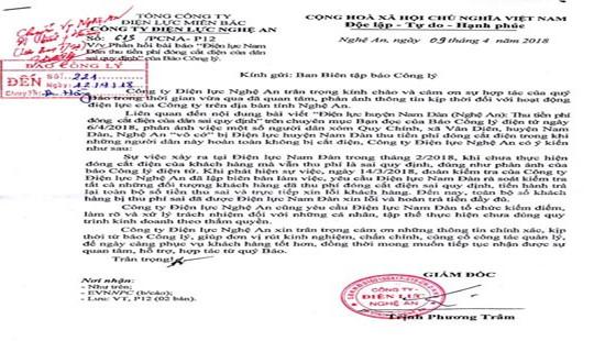 Nghệ An: Điện lực Nam Đàn phản hồi thông tin thu tiền sai của dân