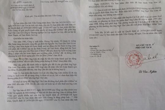 """UBND tỉnh Tiền Giang """"cố tình"""" không thi hành quyết định có hiệu lực của Tòa án"""