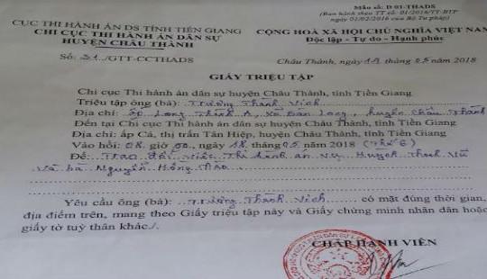 Tiền Giang: Cơ quan THADS huyện Châu Thành bị tố làm việc tắc trách