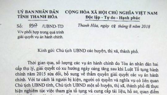 Yêu cầu Chủ tịch UBND huyện Quảng Xương nghiêm túc phối hợp với Tòa án