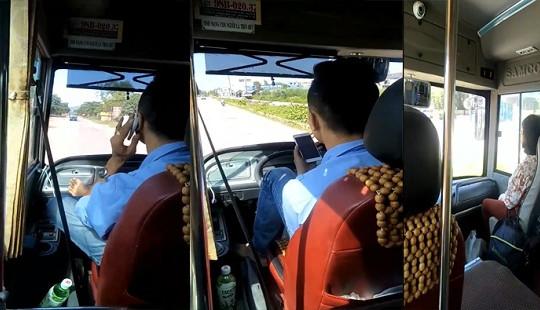 Tìm ra tài xế lái xe buýt bằng chân, tay cầm điện thoại ở Bắc Giang