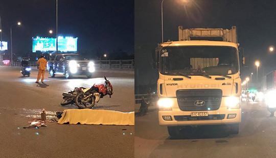 Xe container va chạm xe máy, 2 người tử vong