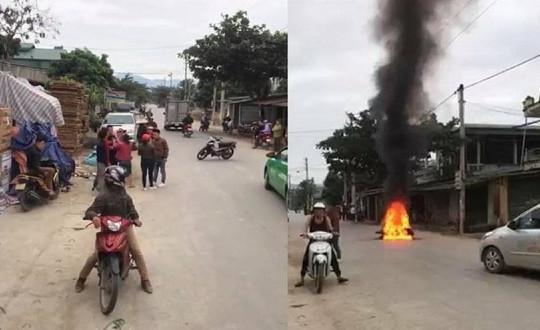 Va chạm giao thông, nam thanh niên đổ xăng đốt xe của người khác