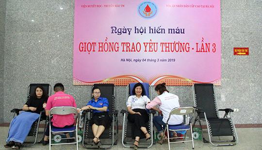 """TAND cấp cao tại Hà Nội tổ chức ngày hội hiến máu """"Giọt hồng trao yêu thương"""""""