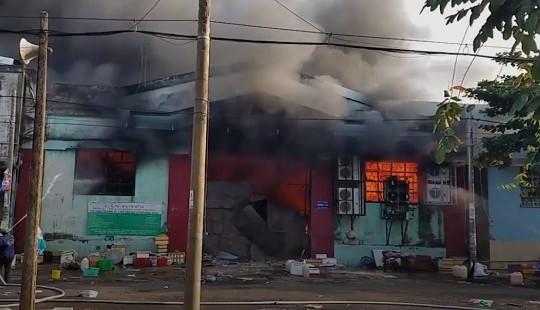 Cháy lớn kèm theo tiếng nổ tại nhà xưởng đóng gói nông sản