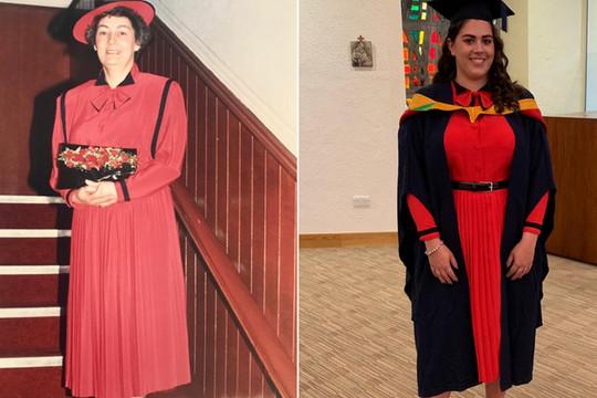 Mặc váy cưới của bà ngoại trong lễ tốt nghiệp