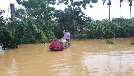 Nước lũ lên nhanh, nhiều nơi ở Hà Tĩnh bị ngập úng