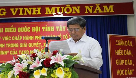 Đoàn ĐBQH Tây Ninh làm việc với TAND hai cấp về chấp hành pháp luật tố tụng hành chính