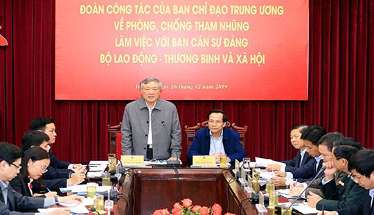 Đoàn công tác Ban Chỉ đạo Trung ương về phòng, chống tham nhũng làm việc với Bộ LĐ-TBXH