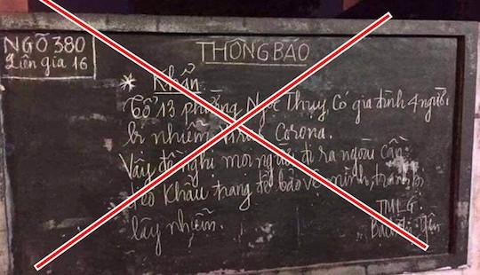 Bộ Y tế bác tin gia đình 4 người tại Hà Nội nhiễm virus corona