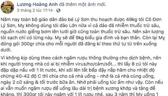 Facebooker Lương Hoàng Anh bị phạt 12,5 triệu đồng vì đưa tin sai về tỏi Lý Sơn